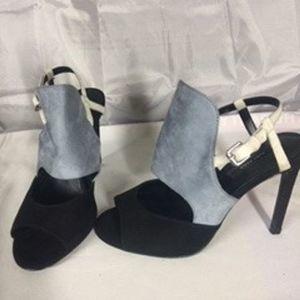 Zara Basic Black Blue and White Suede Heels Sandal